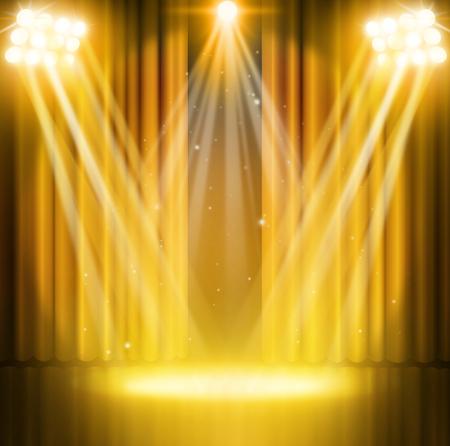 Photo pour Gold curtains on theater with spotlight. - image libre de droit