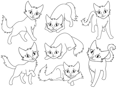 Seven funny cartoon cats over white background, hand drawing vector illustration