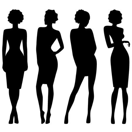Ilustración de Four slim attractive women black silhouettes, hand drawing vector artwork - Imagen libre de derechos
