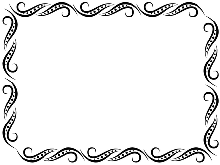 Illustration for Pattern with black ornate floral frame border on the white, vector illustration - Royalty Free Image