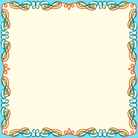 Illustration pour Greeting card with ornamental swirl color floral frame on the white background, vector illustration - image libre de droit