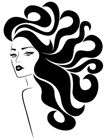 Ilustración de Glamorous lady with long wavy luxurious hair flowing in the wind and with distinctive eyes and lips, hand drawing vector for cosmetic products design - Imagen libre de derechos