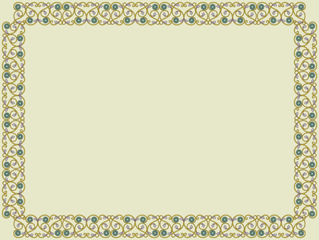Ilustración de Decorative Victorian style frame with interlaced lines in pale hues on the mute khaki background, vector as an element of design - Imagen libre de derechos