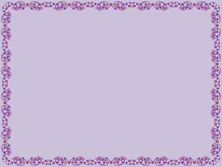 Ilustración de Decorative floral frame with contrast flowers and leaves of Victorian style in purple hues on the mute violet background, vector as an element of design - Imagen libre de derechos
