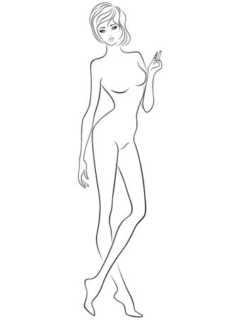 Ilustración de Graceful and adorable lady with slim figure isolated on the white background, hand drawing vector outline - Imagen libre de derechos