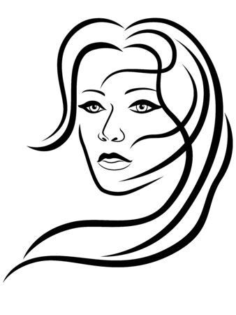Ilustración de Charming and attractive woman with hair in flow and sensual face, black vector hand drawing on the white background - Imagen libre de derechos