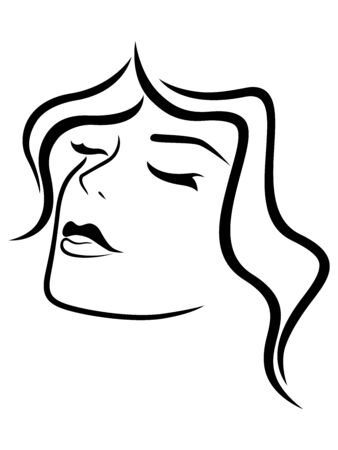 Illustrazione per Charming and attractive woman with closed eyes and sensual face, black vector hand drawing on the white background - Immagini Royalty Free