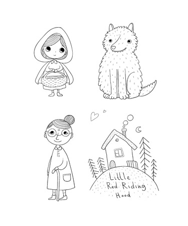 Illustrazione per Little Red Riding Hood fairy tale. Little cute girl, wolf, grandmother and house. Hand drawing isolated objects on white background. Vector illustration. - Immagini Royalty Free