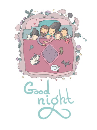 Illustrazione per The family sleeps in bed. Cartoon mom, dad and babies. Sweet Dreams. Good night. Bed linen. Funny pets. Illustration for pajamas. Happy children. - Immagini Royalty Free