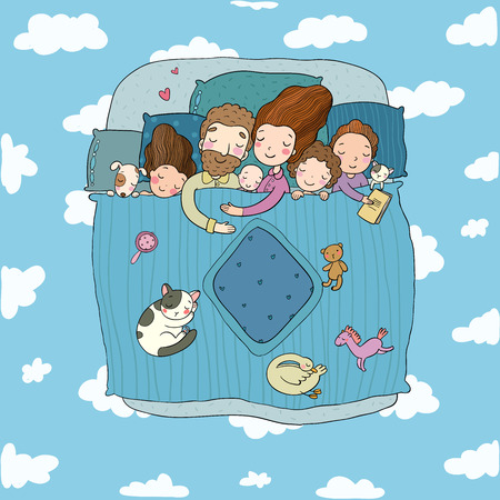 Illustrazione per The family sleep in bed. Cartoon mom, dad and babies. Sweet Dreams. Good night. Bed linen. Funny pets. Illustration for pajamas. Happy children. - Vector illustration - Immagini Royalty Free