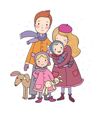 Illustrazione per A happy family. Parents with children. Cute cartoon dad, mom, daughter, son and baby. grandmother and grandfather. Funny pet cat and dog. Vector - Immagini Royalty Free
