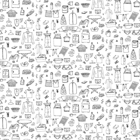 Illustration pour Seamless background hand drawn doodle Laundry set Vector illustration washing icons Laundry concept elements Cleaning business symbols Equipment and facilities for washing, drying and ironing clothes - image libre de droit