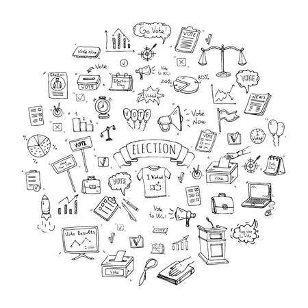 Illustration pour Hand drawn doodle Vote icons set. Vector illustration. Election symbols collection. Cartoon various voting elements: hand putting paper in the ballot box, speaker, scale, calendar, infographics, case. - image libre de droit