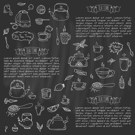 Illustration pour Hand drawn doodle Tea time icon set. Vector illustration. Isolated drink symbols collection. Cartoon various beverage element: mug, cup, teapot, leaf, bag, spice, plate, mint, herbal, sugar, lemon. - image libre de droit