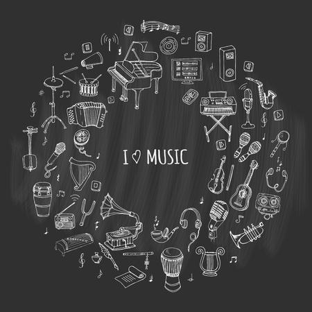 Illustration pour Hand drawn doodle I love music set Vector illustration musical instrument Symbols icon collections Cartoon sound concept elements Music notes Piano Guitar Violin Trumpet Drum Gramophone Saxophone Harp - image libre de droit