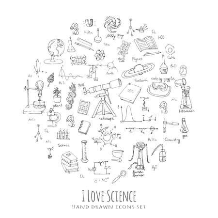 Illustration for Freehand drawing school items, Back to School Science theme, Hand drawing set of school supplies sketchy doodles vector illustration, doodles, science, physics, calculus, chemistry, biology, astronomy - Royalty Free Image