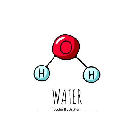 Illustration pour Hand drawn doodle Water chemical formula icon. - image libre de droit