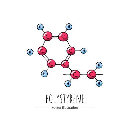 Illustration pour Hand drawn doodle Polystyrene chemical formula icon. - image libre de droit