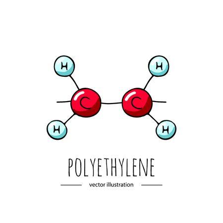 Illustration pour Hand drawn doodle Polyethylene chemical formula icon. - image libre de droit