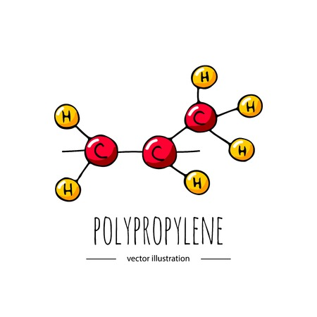 Illustration pour Hand drawn doodle polypropylene chemical formula icon. - image libre de droit