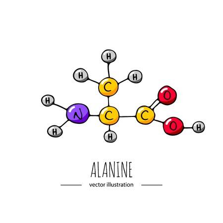 Illustration pour Hand drawn doodle Alanine chemical formula icon. - image libre de droit