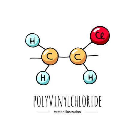 Illustration pour Hand drawn doodle Polyvinylchloride  chemical formula icon. - image libre de droit