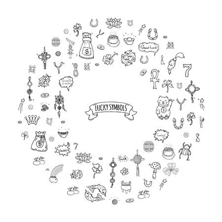 Illustration pour Hand drawn doodle Lucky symbols icon set Vector illustration isolated Luck symbols collection Cartoon wealth element: Ladybug Dreamcatcher Clover Horseshoe Neko cat Wishbone Scarab Charms Good Luck - image libre de droit