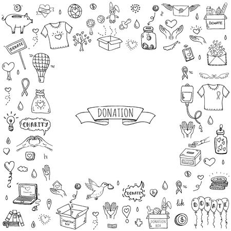 Illustration for Hand drawn doodle Donation icons set. Vector illustration. Charity symbols collection Cartoon donate sketch elements: blood donation, box, heart, money jar, care, help, gift, giving hand, fund raising - Royalty Free Image
