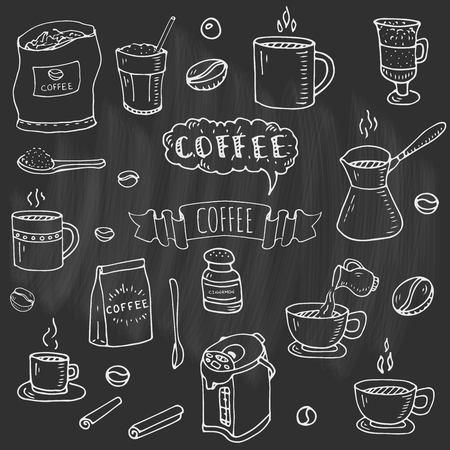 Ilustración de Hand drawn doodle of Coffee time icons set - Imagen libre de derechos