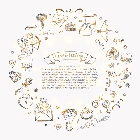 Ilustración de Hand drawn doodle love and feelings collection vector illustration. Sketchy lovely icons big set for Valentine's day, Mother's day, wedding, happy and romantic events. - Imagen libre de derechos
