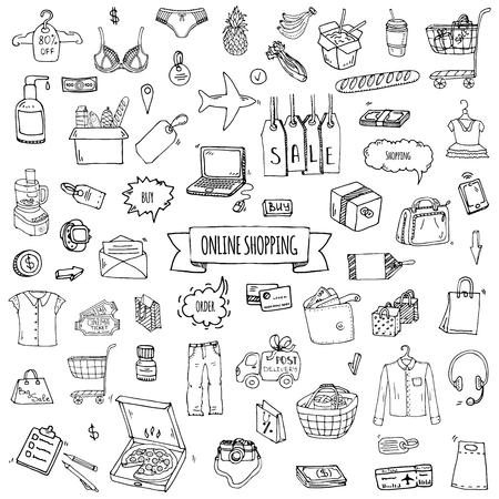 Illustration pour Hand drawn doodle set of Online shopping icons. Vector illustration set. Cartoon buying symbols. Sketchy elements collection: laptop, sale, food, grocery, clothing, cart, wallet, credit card, tag, bag - image libre de droit