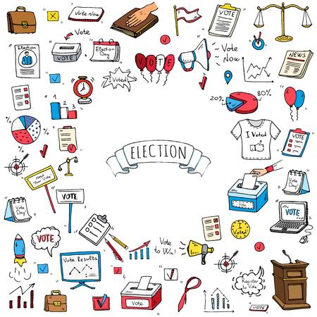 Illustration pour Hand drawn doodle Vote icons set. Vector illustration. Election symbols collection. Cartoon various voting elements: hand putting paper in the ballot box, speaker, scale, calendar, infographics, case. - image libre de droit