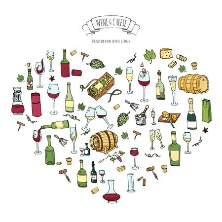 Ilustración de Hand drawn wine set icons Vector illustration Sketchy wine tasting elements collection Wine objects Cartoon wine symbols Vineyard background Vector wine background Winery illustration Grape Wine glass - Imagen libre de derechos