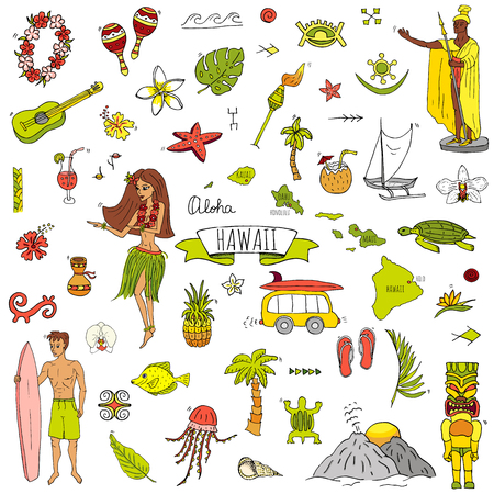 Illustration pour Hand drawn doodle Hawaii icons set Vector illustration isolated symbols collection of hawaiian symbols Cartoon elements: USA state map Honolulu State Hula girl Surfing guy Volcano Guitar Paradise Art - image libre de droit
