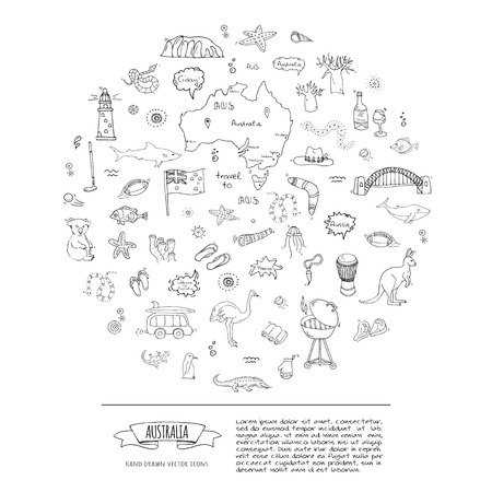 Illustration pour Hand drawn doodle Australia icons set Vector illustration isolated symbols collection of australian symbols Cartoon elements: map, flag, opera house, bbq, kangaroo, bridge, coral reef, snake, shark - image libre de droit