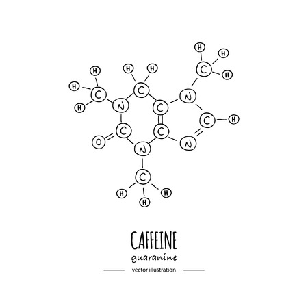 Illustration pour Hand drawn doodle Caffeine chemical formula icon Vector illustration Cartoon molecule Sketch Guaranine symbol molecular structure Structural scientific hormone formula isolated on white background - image libre de droit