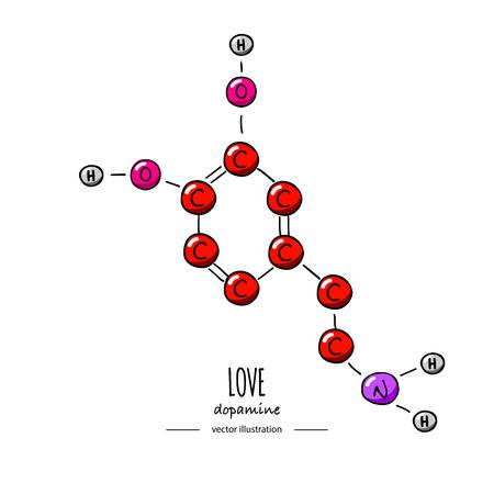 Illustration pour Hand drawn doodle Dopamine chemical formula icon Vector illustration Cartoon molecule element Sketch Love symbol molecular structure Structural scientific hormone formula isolated on white background - image libre de droit
