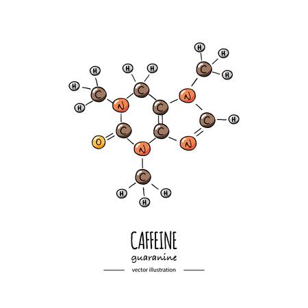 Illustration pour Hand drawn doodle Caffeine chemical formula icon Vector illustration Cartoon molecule Sketch Guaranine symbol molecular structure Structural scientific hormone formula isolated on white background - image libre de droit