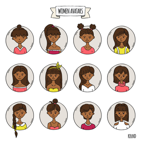 Ilustración de Hand drawn doodle set of people avatar icons. Vector illustration set. Cartoon black headed african women faces symbols. Sketchy elements collection: girls with various hairdress, hairstyle, clothing - Imagen libre de derechos