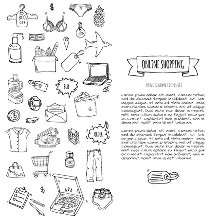 Illustration for Hand drawn doodle set of Online shopping icons. Vector illustration set. Cartoon buying symbols. Sketchy elements collection: laptop, sale, food, grocery, clothing, cart, wallet, credit card, tag, bag - Royalty Free Image