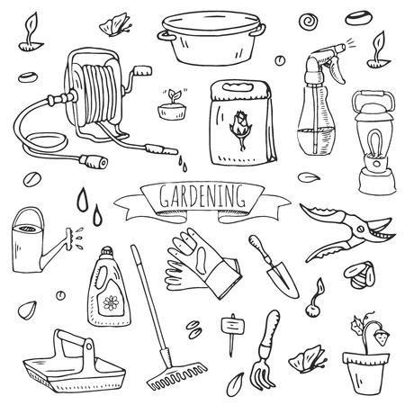 Ilustración de Hand drawn doodle set of Gardening icons. Vector illustration set. Cartoon Garden symbols. Sketchy elements collection: lawnmower, trimmer, spade, fork, rake, hoe, trug, wheelbarrow, hose reel. - Imagen libre de derechos