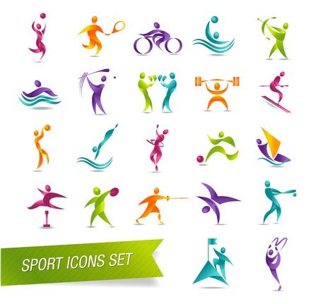 Ilustración de Colorful sports icon set vector illustration - Imagen libre de derechos