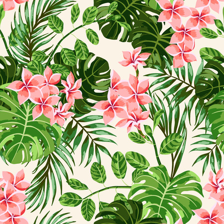 Ilustración de Seamless exotic pattern with tropical leaves and flowers. Vector illustration. - Imagen libre de derechos