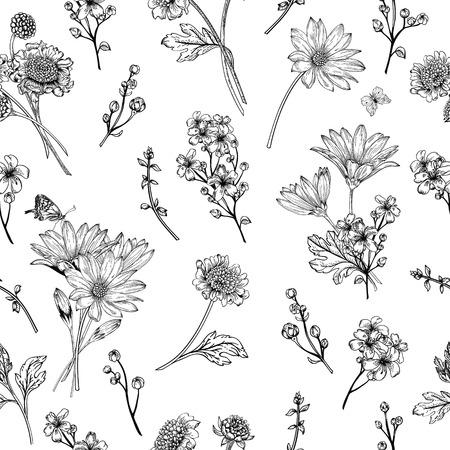 Ilustración de Beautiful vintage seamless pattern with flowers on a white background - Imagen libre de derechos