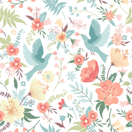 Illustration pour Cute seamless pattern with birds and flowers in pastel colors. - image libre de droit