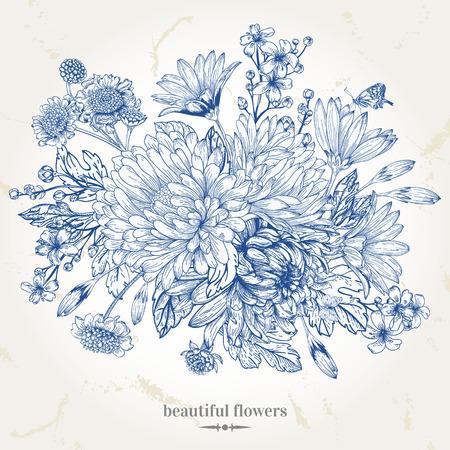 Illustration pour Hand-drawing vintage card with a bouquet of blue flowers - image libre de droit