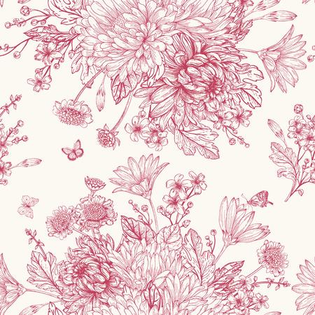 Illustration pour Beautiful vintage seamless pattern with bouquets of red flowers - image libre de droit