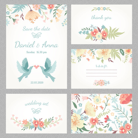 Illustrazione per Beautiful vintage wedding set with cute flowers and love birds - Immagini Royalty Free