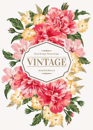 Illustration pour Vintage greeting card with colorful flowers. Vector illustration. - image libre de droit