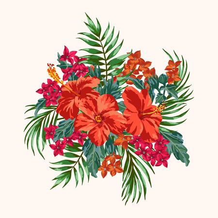 Illustration pour Bouquet of tropical flowers and leaves. Plumeria, hibiscus, monstera, palm. Vector illustration. - image libre de droit